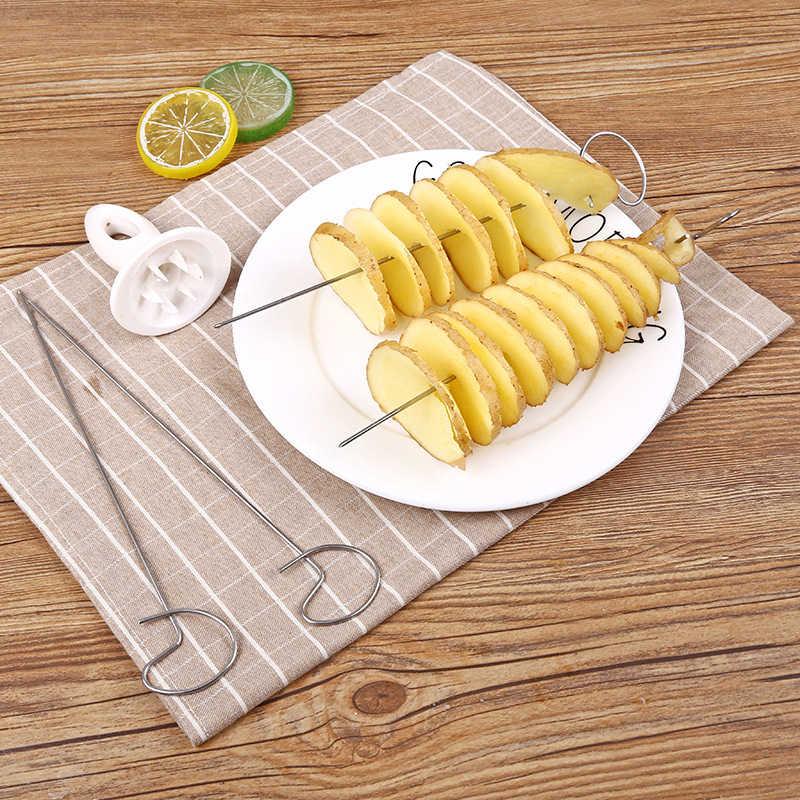 Ручные спиральные приспособления для резки картофеля Слайсеры вращать башню картофеля делая спиральный нож картофеля кухонные принадлежности гаджеты