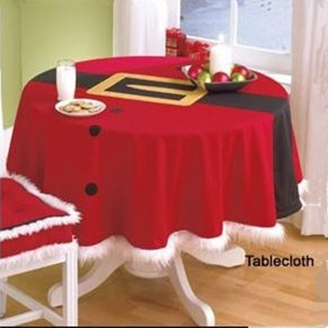 Red Christmas Table Cloth Home Decoration Round Table Cover Manteles Para  Mesa