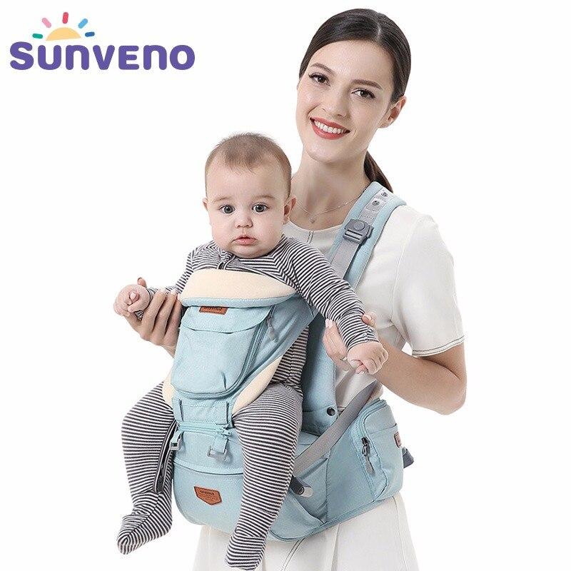 SUNVENO Ergonômico Infantil Portador de Bebê Hipseat Portador de Bebê Frente Virada Canguru Envoltório Estilingue Do Bebê para o Bebê Viajar 0 Ergonômico- 36 m