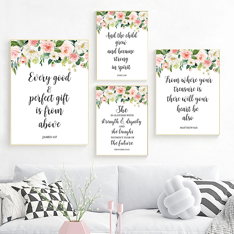 Bible Verses Christian Wall Art Canvas Painting Watercolor Flowers Inspirational Quotes Posters And Prints Pictures Home Decor image
