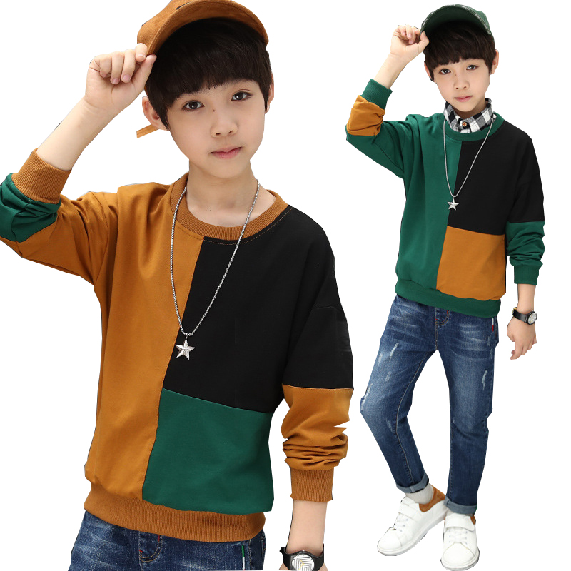 Boys T Shirt Autumn Long Sleeve Striped Sweatshirt for Teenage Boys Tops Patchwork Kids Outfits Children Clothes 8 10 12 Years 2018 girls clothes sets long sleeve patchwork outfits kids tops