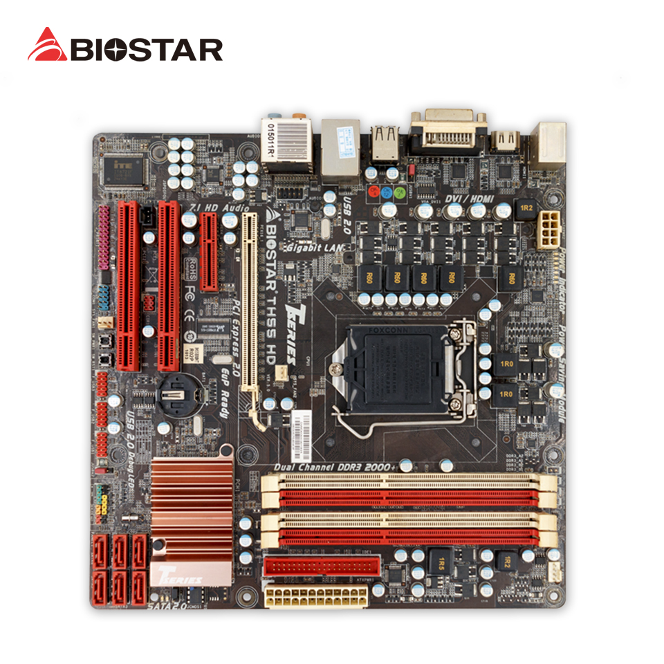 BIOSTAR TH55 HD Desktop Motherboard H55 LGA 1156 DDR3 16G SATA2 USB2.0 Micro ATX free shipping original motherboard for biostar h55a lga 1156 ddr3 ram 16g boards h55 atx desktop 4 ddr3 dimm motherboard