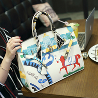 2017new Year's gift designer Original hand painted package Personality spoof Graffiti horse Platinum Package35CM white large bag