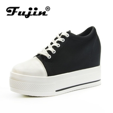 Fujin Women Wedges 2019 Fashion Platform Shoes High Heels Hidden Lace Up Vulcanize Sneakers Breathable Casual