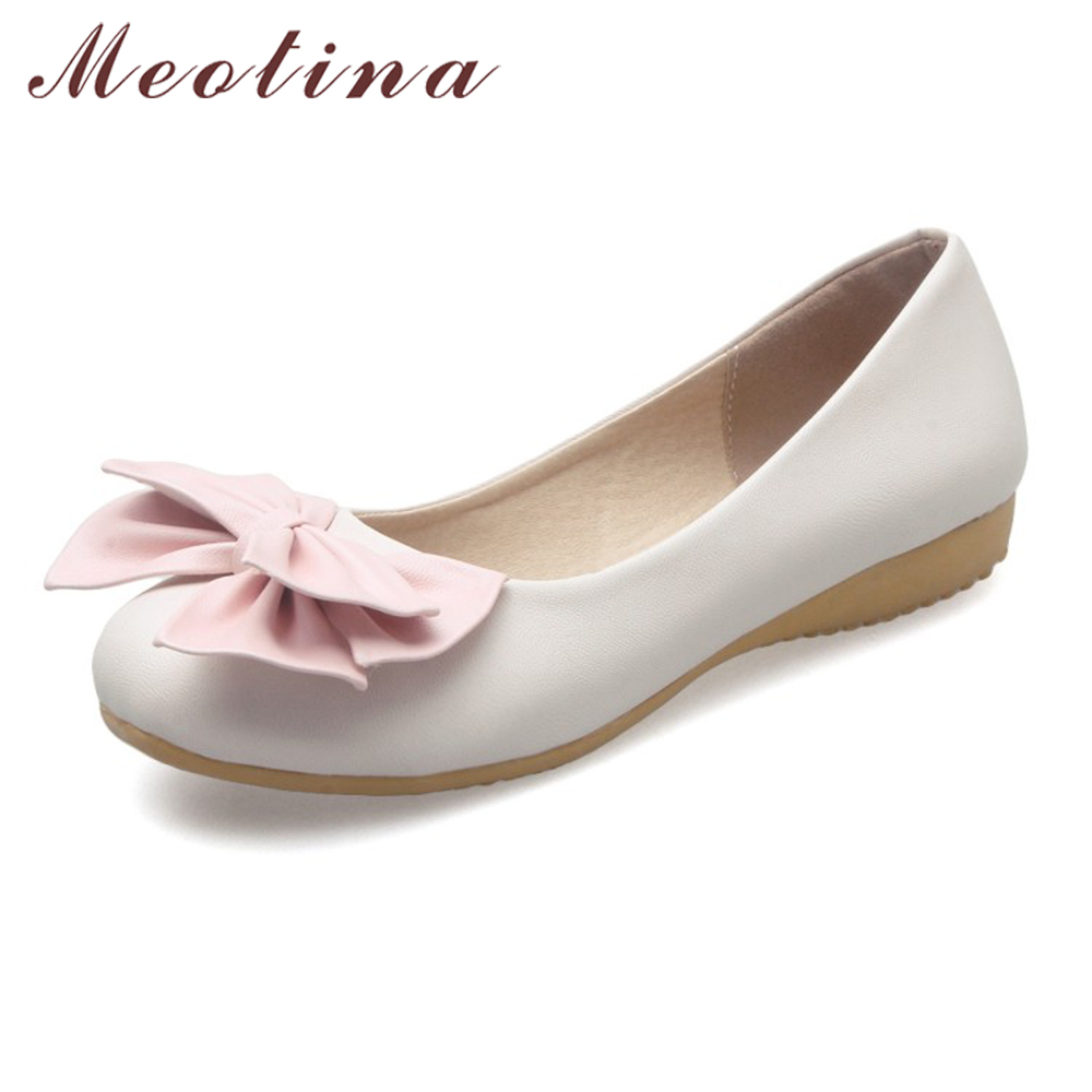 Meotina Women Shoes Ballet Flats 2017 Women Flats Sweet Bow Round Toe Ballerina Flat Boat Shoes Loafers Beige Plus Size 34-43 10 meotina women flat shoes ankle strap flats pointed toe ballet shoes two piece ladies flats beading causal shoes beige size 34 43