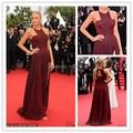 2017 Cannes Red Carpet vestidos de fiesta Elegant Pleat Ruched Open Back Slit Evening Prom Celebrity Dress Gown Special Occasion