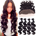 Peruvian Virgin Hair Body Wave With Closure 13x4 Lace Frontal Closure With Bundles 4 pcs Human Hair Bundles With Frontal Closure