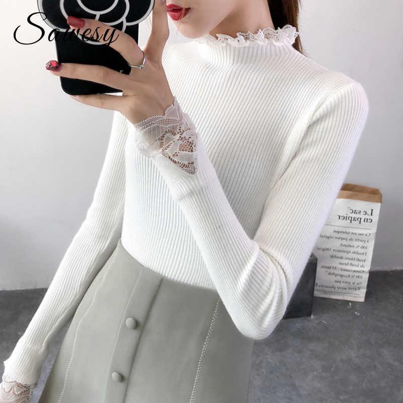 7b81bbb4e7bd Autumn Winter Turtleneck Sweaters Women Slim Long Sleeve Jumper Women  Pullovers Crochet Lace Casual Knitting Sweater