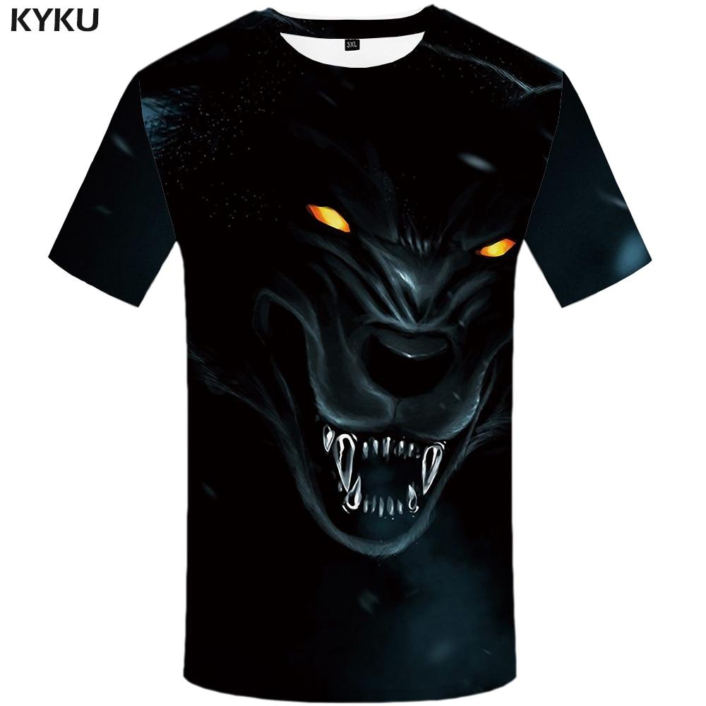 KYKU Wolf chemise Punk T-shirt métal T-shirt 3d impression T-shirt hommes vêtements hommes vêtements drôle t-shirts tenue décontracté 2018