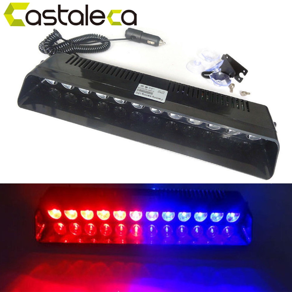 castaleca Car Led Emergency Strobe Flash Warning Light 12V 12 Led 12W Police Flashing Lights Red Blue Amber White Car styling s4 viper car windshield led strobe light flash signal emergency fireman police beacon warning light red blue amber white
