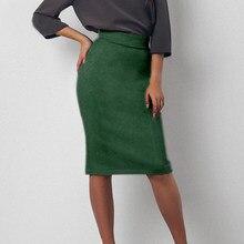 Sytiz Suede alta cintura Bodycon Falda Mujer Split Vintage rodilla longitud lápiz  falda Oficina OL sólido e66b2ba09254
