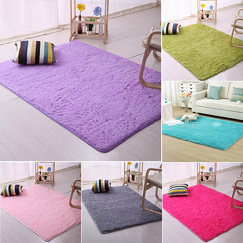 Plush shaggy soft carpet room area rug bedroom slip for Soft carpet for bedrooms