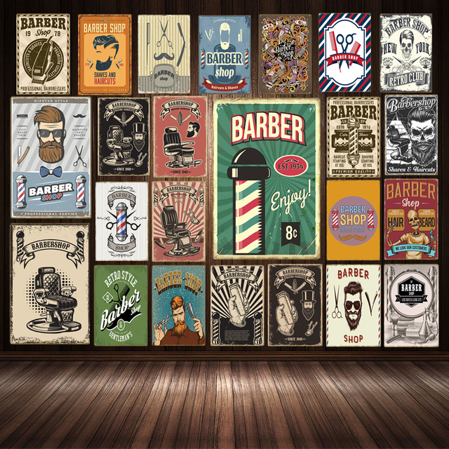 Vintage Barber Decoration Haircut And Shave Beard Tin Signs Metal Plate Advertising Wall Poster Pub