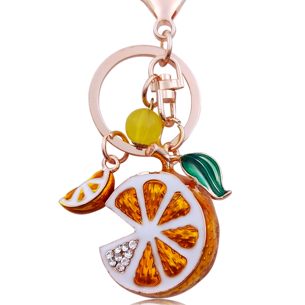 4*3.3 см прохладно сплава лимон Брелки кулон 3D кристалл фрукты брелок для Для женщин сумка кошелек ключей автомобиля стиль брелок