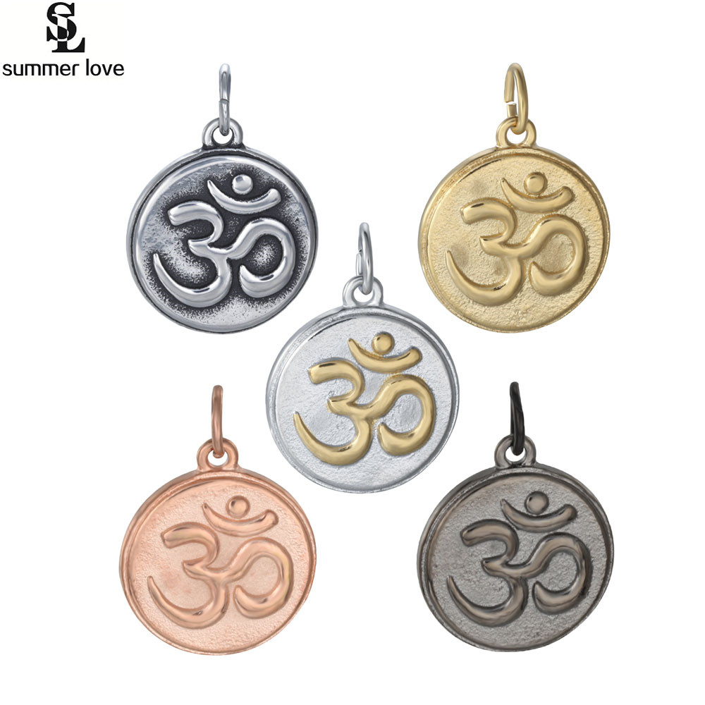 5 Colors Summer Love Stainless Steel OM Mantra Sign Charm Pendants Yoga Charm Pendant for DIY Necklace Jewelry Making