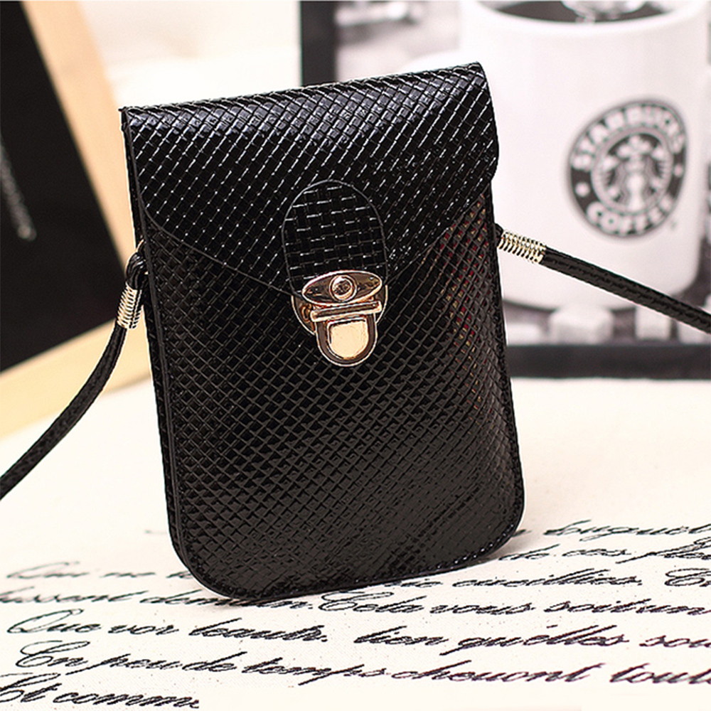 Hot sale Universal Double layer small fashion Shoulder Diagonal mobile phone Bag case mini Messenger Bag for iphone samsung Etc.
