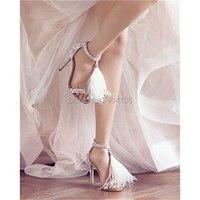 Summer Luxury Wedding Shoes Bride White Feather Tassel Crystal Sandale Sexy Thin High Heels Rhinestone Platform Fringe Sandals