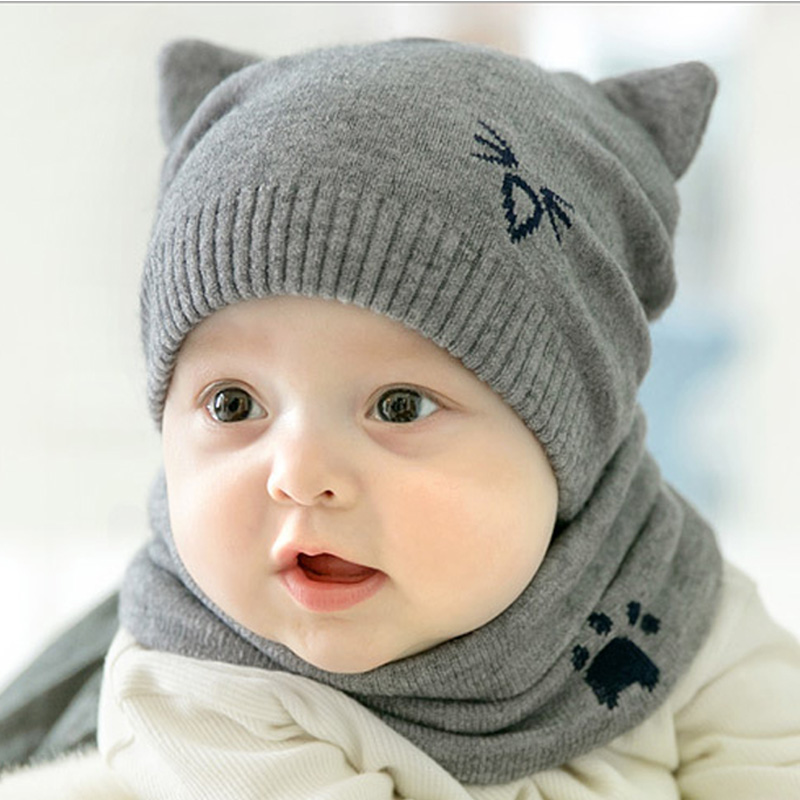 2018 Baby Hat Autumn Winter for infant Cartoon Knitted Warm Cap Cute Hat Fashion Kids Knitted Cap Scarf 2PCS/set