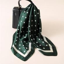 Fashion Women Scarf Luxury Brand Striped Dots Print Hijab Pure Silk Shawl Scarfs