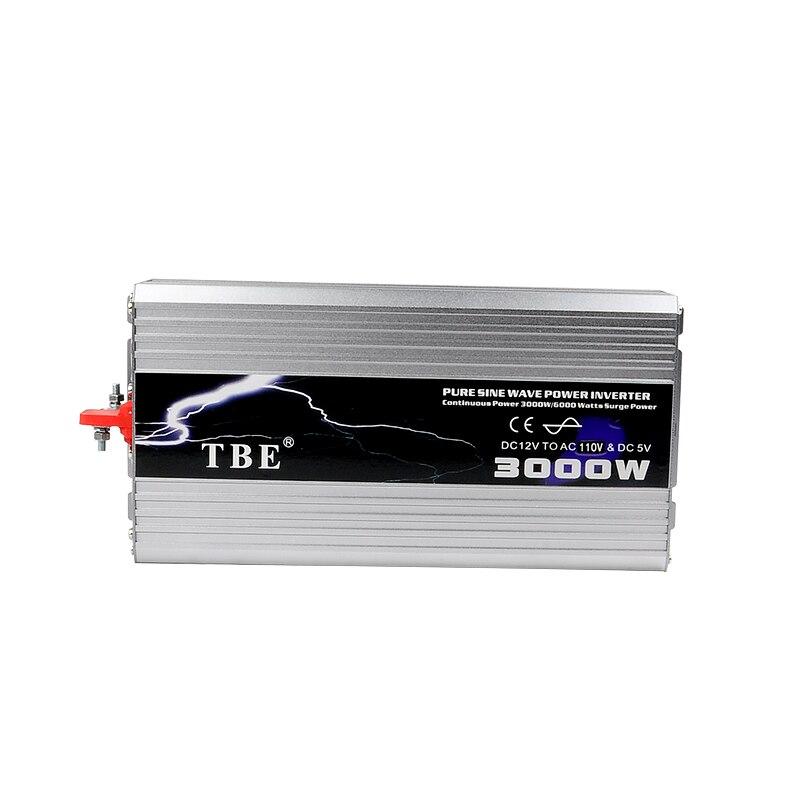 DC12V/24VTo AC110V/220 v Onde sinusoïdale Pure Onduleur De Voiture USB Électronique Accessoires Onduleur Solaire TBE 3000 watt 3000 w Puissance Inveretr