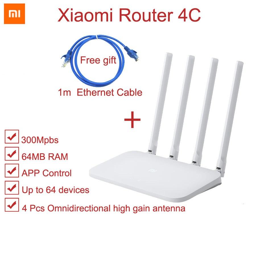 Original Xiaomi Router 4C Mi 300Mbps Home Wireless WiFi Router 4 Antennas 5dBi Smart APP Control 64RAM 802.11 B/g/n 2.4G Office