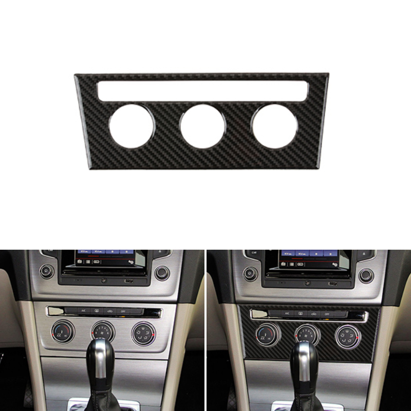 Real Carbon Fiber Interior Center Console Air Conditioning Knob Frame Cover Trim For VW Golf 7 MK7 VII 2013 2014 2015 2016 2017
