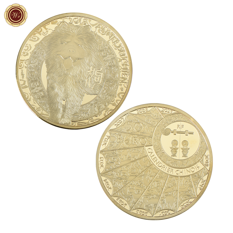 WR Chow Chow Gold Plated Commemorative Coin New Year Gift Year of the Dog Gold Coins Cal ...