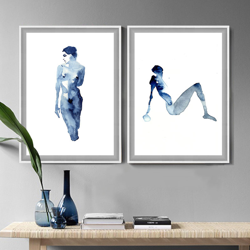 Figure Abstract Woman Body Nude Watercolor Painting Nordic -5063