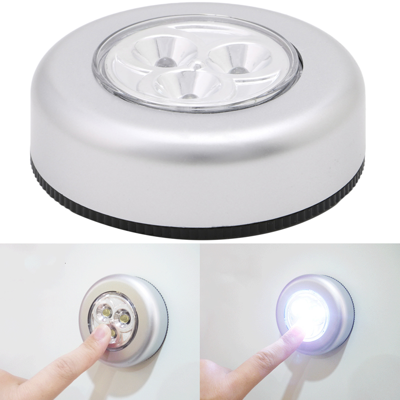 3 LED Touch Light Push Lamp Night Light Car Home Wall Camping Battery Power