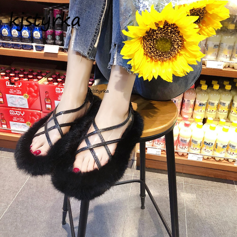 Kjstyrka 2018 Brand designer sandals women mules ladies slides fashion personality fur loafers shoes flats shoes zapatos mujer kjstyrka 2018 brand designer women mules pointed toe ladies shoes med heel sandals black red lattice fashion girls shoes