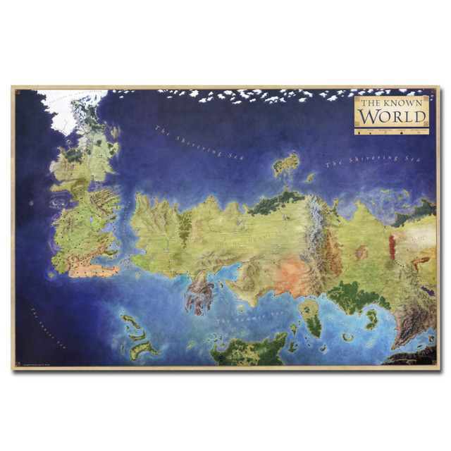 Game Of Thrones Map Of The Known World Poster Canvas Print Wall Art