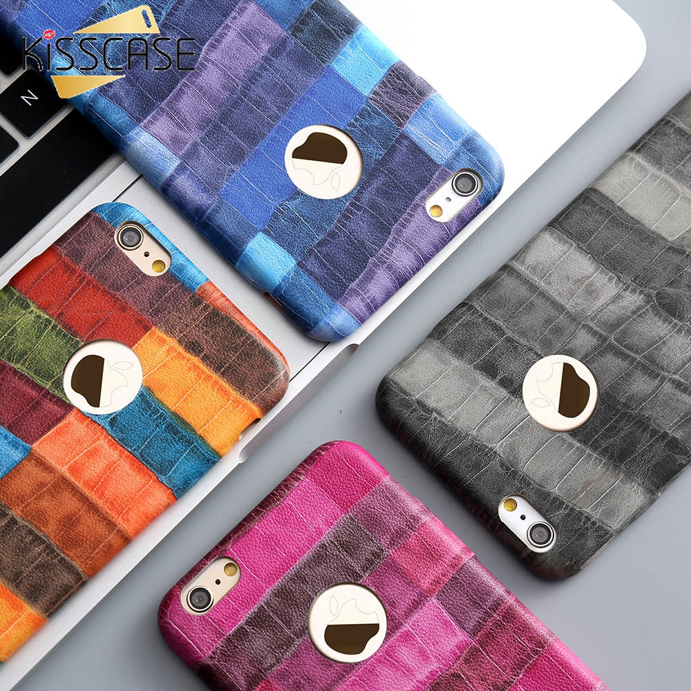 KISSCASE Pouzdra na módní telefony pro iPhone 6 6s plus kryt ultra tenký luxusní proužek pro iPhone 7 7 plus pouzdro Coque Shell Capa