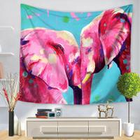 צבע מותאם אישית צבוע בעלי חיים שטיחי קישוט תלוי על קיר רקע פילים לבית