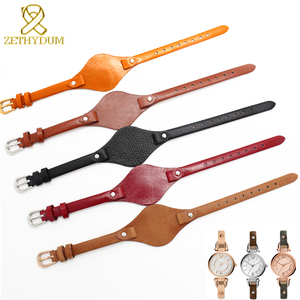 Image 3 - עור אמיתי צמיד רצועת נשים רצועת השעון קטן חגורת 8mm עבור מאובנים ES4176 ES4119 ES4026 3262 3077 שעון להקת עם מחצלת