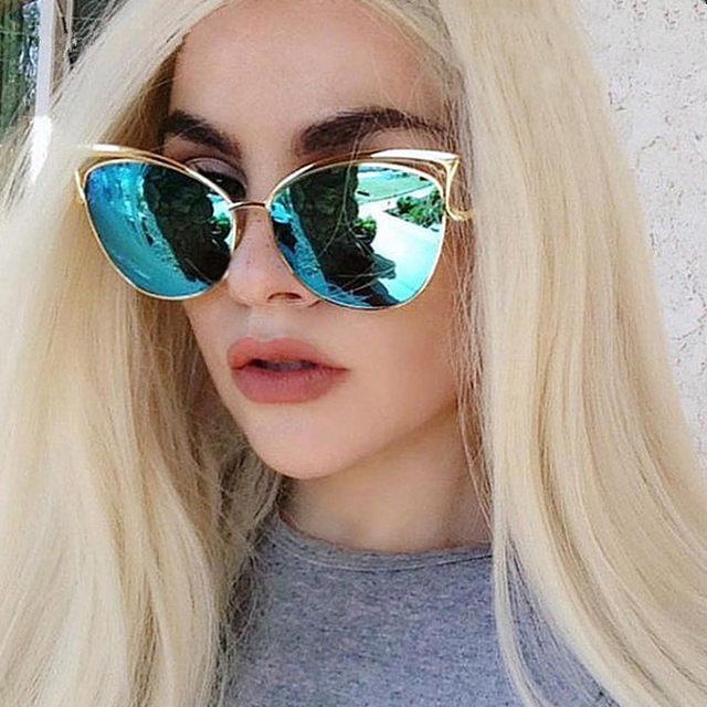 Luxury High Quality Cat Eye Sunglasses Women Brand Designer Vintage Sun Glasses For Women Female Lady Sunglass Mirror Oculos New (14)