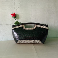 European Style Small Geunie Leather Alligator Day Clutch Bag First Layer Of Cowhide Snake Pattern Mini