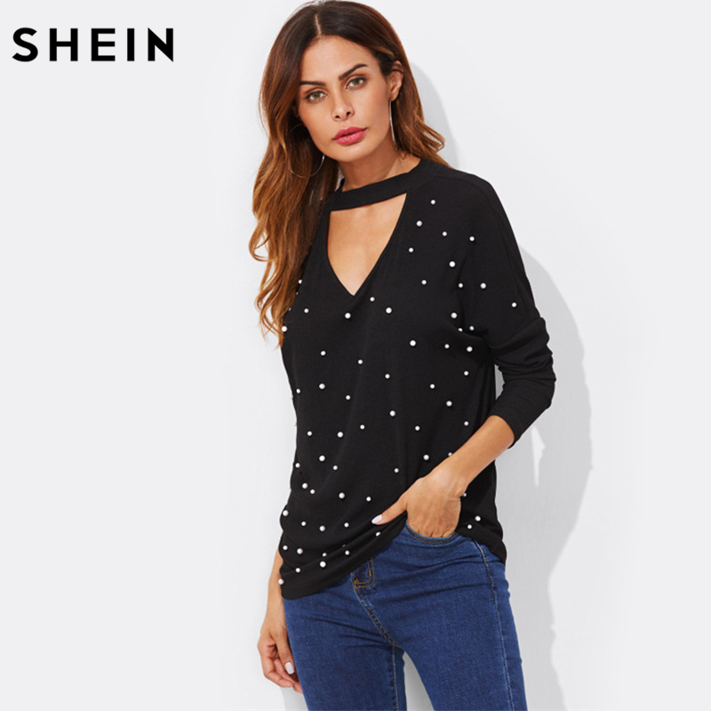 SHEIN Pearl Beading V Cut Choker Sexy Top 2017 New Fashion Autumn Womens Black V Neck Casual Long Sleeve T shirt nautica new blue long sleeve v neck pajama top m $32 dbfl