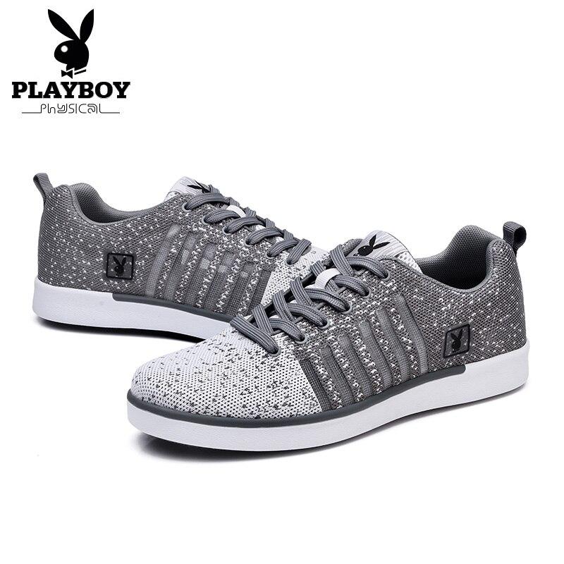 Estilo Jovens cinza Marinho Playboy Malha Sapatos Amante outono 2017 Moda Top Primavera Preto Homens Up Da73056 azul lace De Calçados Casuais Respirável Plana RRqw8Zp