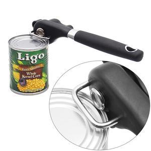 Image 1 - Безопасный консервный нож из нержавеющей стали, простой в применении, ручной, профессиональные открыватели с поворотной ручкой, бытовые полезные кухонные инструменты