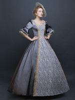 Women's Retro Costume Gray Victorian Satin Ball Gown Princess Costume Halloween