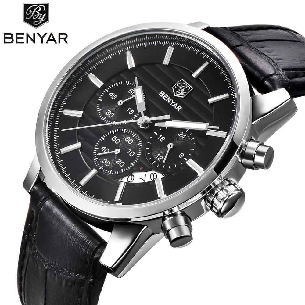 BENYAR Dell'acciaio Inossidabile di Modo Mens Sport Cronografo Orologi Top Brand di Lusso Del Quarzo Vigilanza di Affari Orologio Relogio Masculino