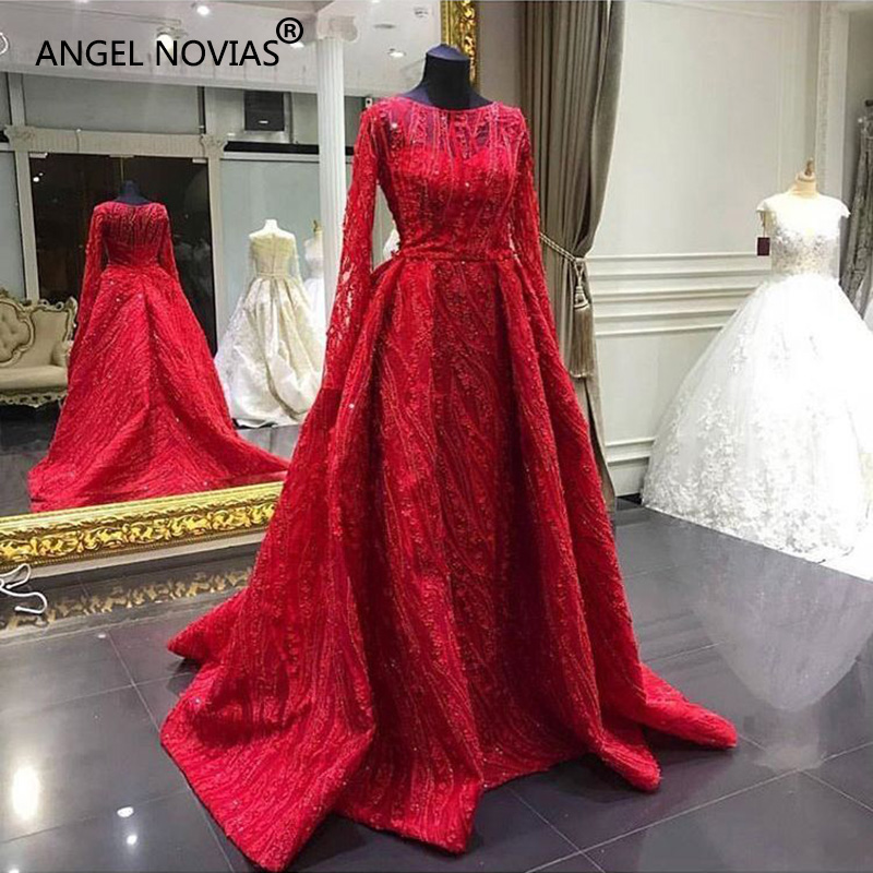 Angel Novias Long Sleeves Abendkleider Red Lace Arabic   Evening     Dress   2018 Kaftan Dubai Formal Muslim Party   Dresses