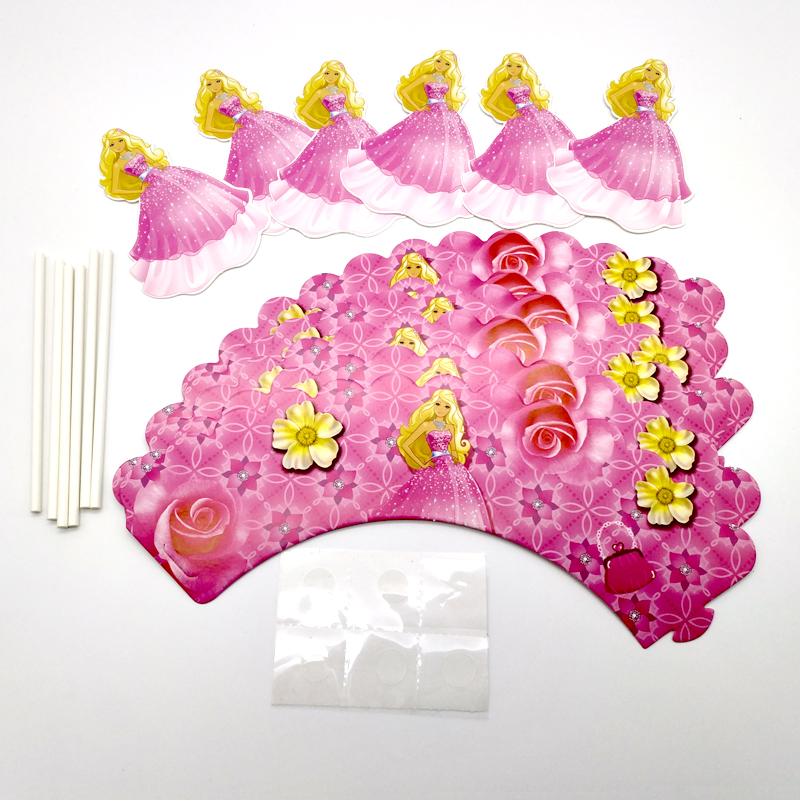 18pcs/lot Baby Shower Cake Wrappers Girls Favors Happy Birthday Party Decorations Barbie Princess Cupcake Toppers With Sticks