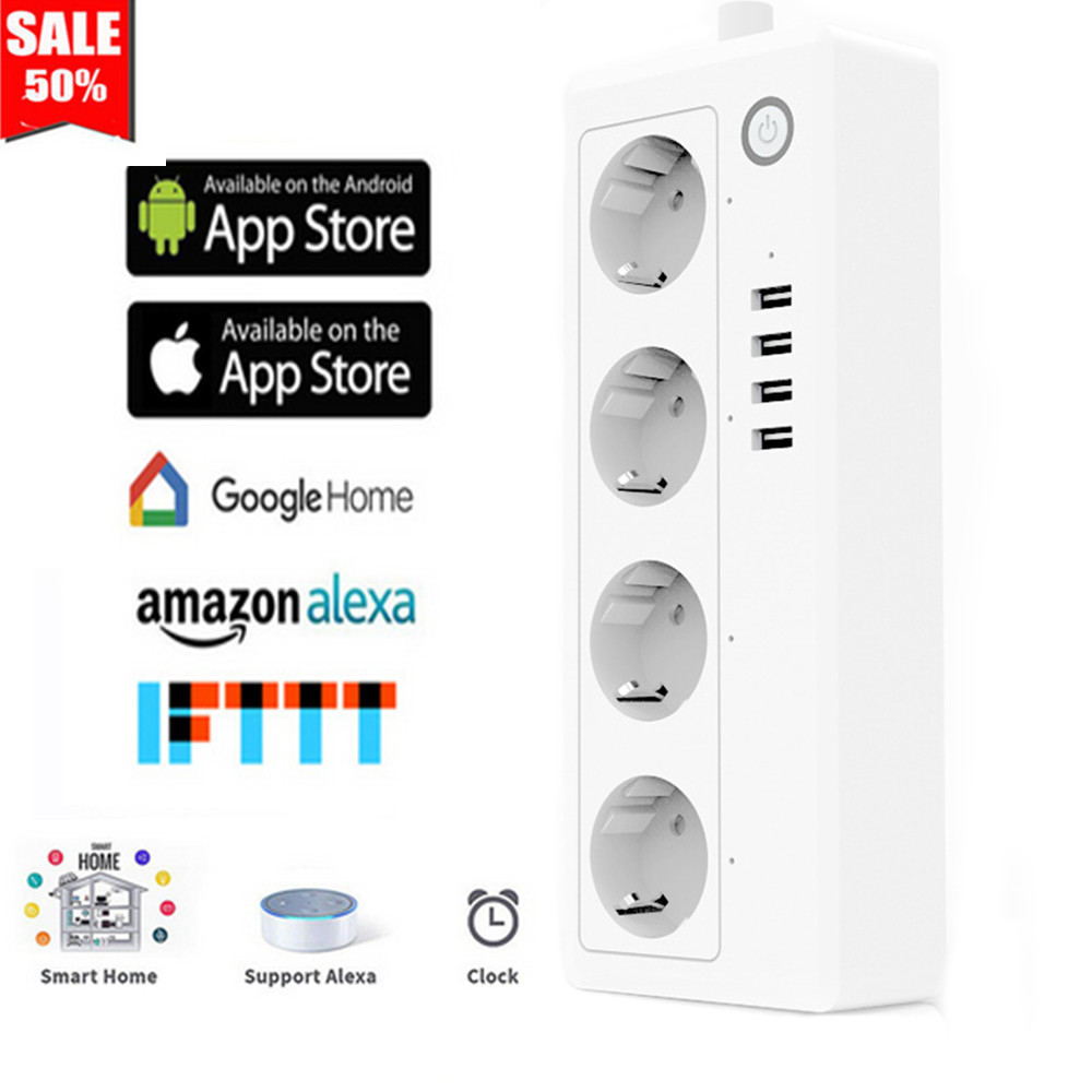 US $11 85 21% OFF|Wifi Smart Power Strip 4 EU US Outlets Plug 4 USB  Charging Port Timing App Voice Control Work with Alexa,Google Home  Assistant-in
