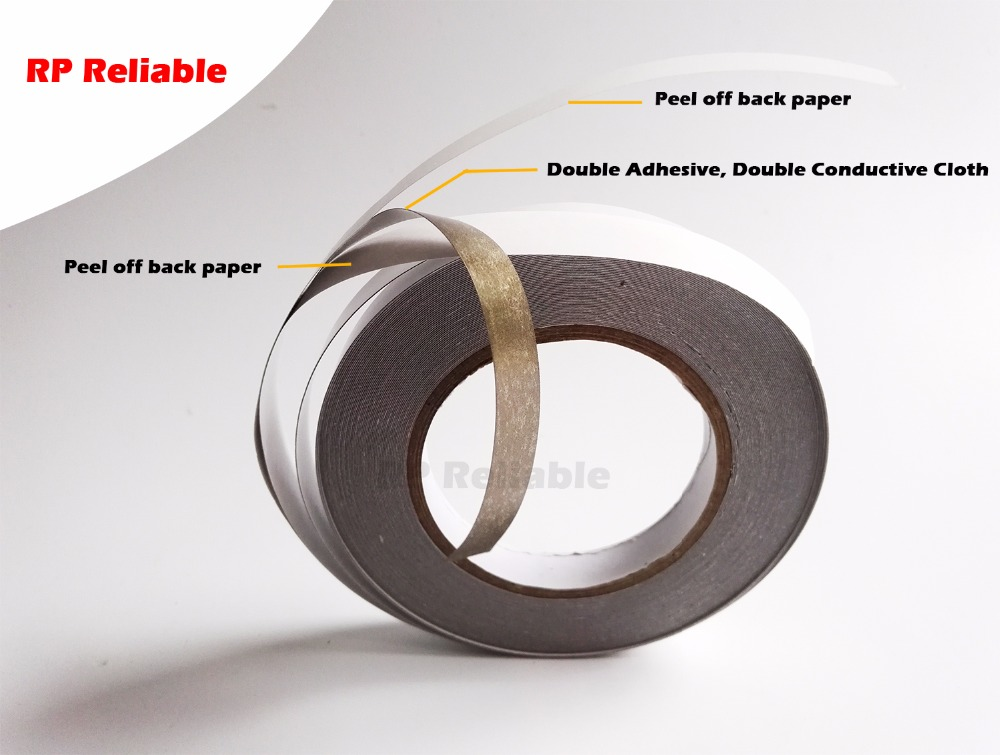 5mm~50mm choose *20M Double Adhesive, Double Sided Conduct Fabric Tape for Laptop Tablet Phone, Cable EMI Shield Radiation-proof 50 meters roll 0 2mm thick 2mm 50mm choose super strong adhesive double sided sticky tape for cellphone tablet case screen