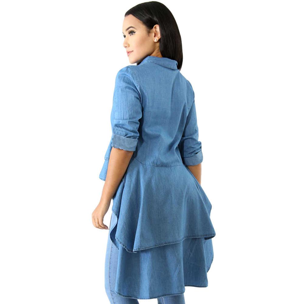 716f86b08dc ... Summer Denim Shirts Long Sleeve Blue Jeans Asymmetrical Ruffle Blouse  Button Down Women Long Shirts Casual ...