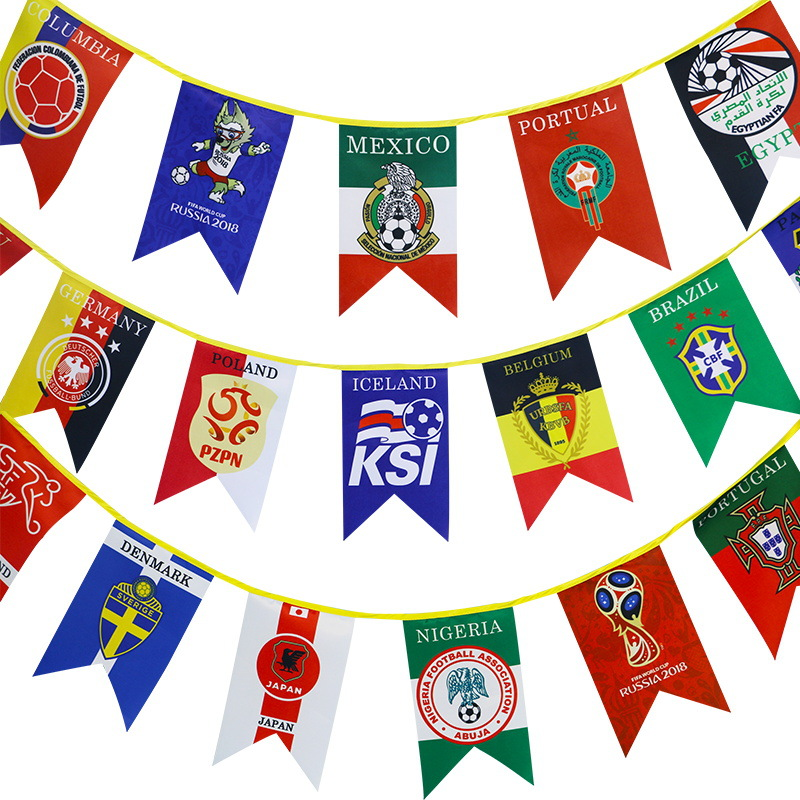 20*12cm 2018 Football World Cup 32 Countries Flag Banner toy For Bar Decoration world cup in south africa world cup model european soccer cup trophy custom football fans articles