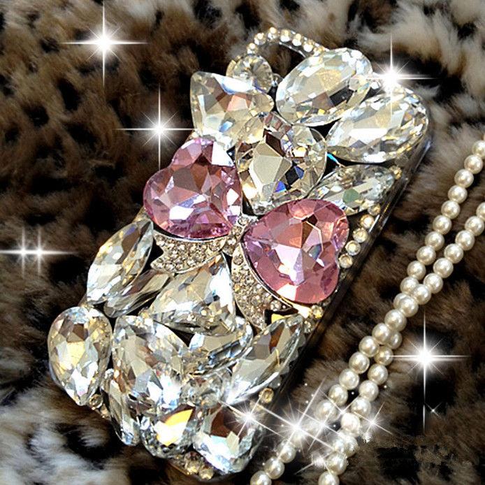 XINGDUO Bling Diamond DIY handmade Gem Flower Crystal Hard Case Cover for LG G2 G3 G4 G5 For HTC One M7 M8 M9 E8 Desire 820