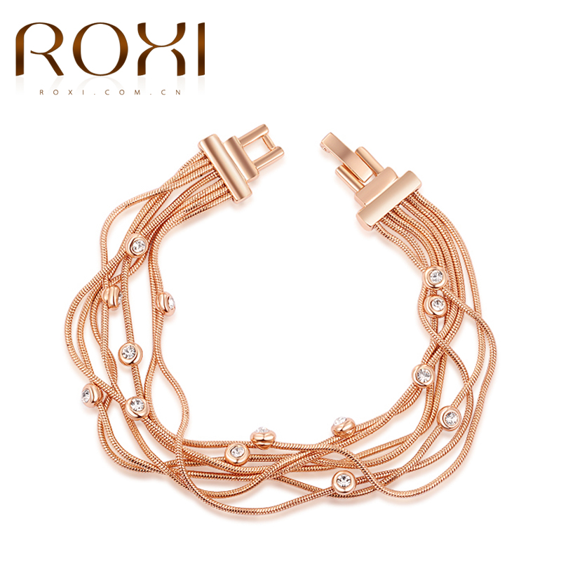 ROXI Bracelet For Women Rose Gold Color Multi-layer Chain Women Bangle Bracelet Party Wedding Body Jewelry Pulseira Masculina cool design multi layed chain bracelet for women