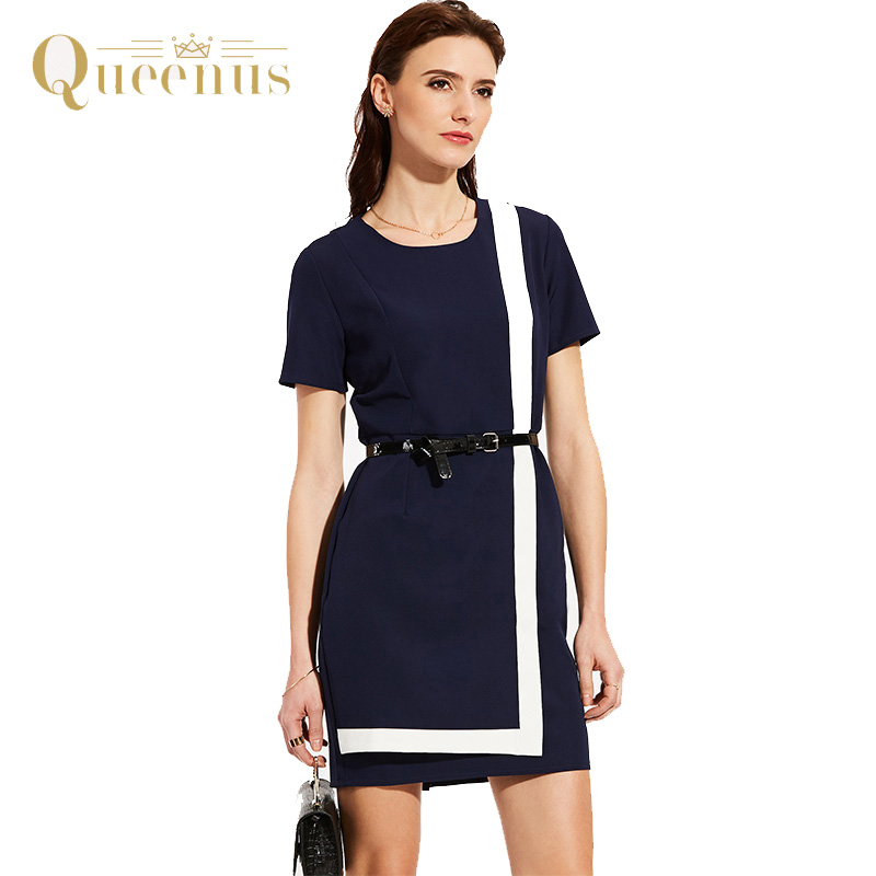Queenus Women Summer Dress Above Knee O Neck Empire Ol Office